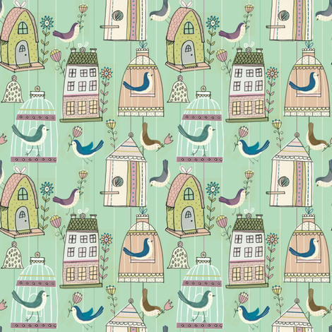 Birds & Birdhouses fabric by lesleybreenwithrow on Spoonflower - custom fabric