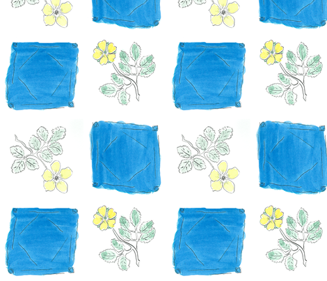 Ink and Watercolor Flowers - yellow green  and thalo blue fabric by mina on Spoonflower - custom fabric