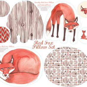 Red Fox Pillow Set (please zoom for details!)