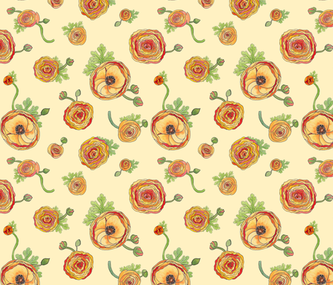 Ranunculus fabric by demouse on Spoonflower - custom fabric