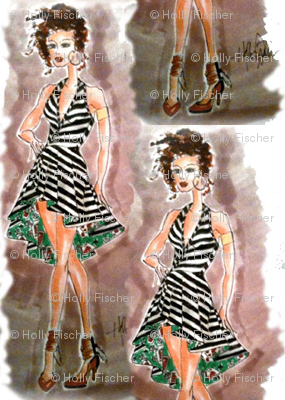 Play Your Cards Right - Hand Sketched Fashion Print by Holly Fischer