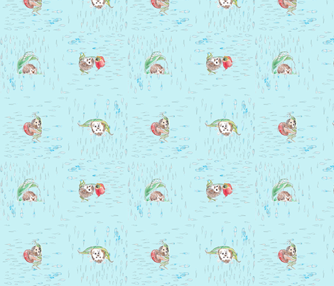 hedgehogs in the rain  fabric by featherhill on Spoonflower - custom fabric