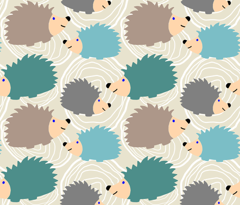 Hedgehog Faux Bois fabric by yespleasestudio on Spoonflower - custom fabric