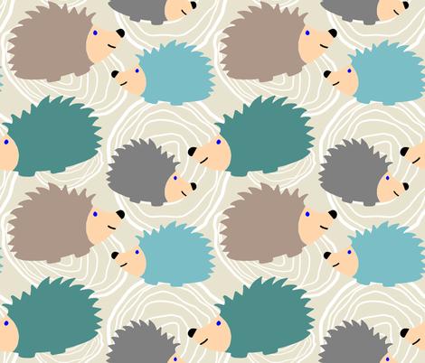Hedgehog Faux Bois fabric by yespleasestudio on Spoonflower - custom fabric