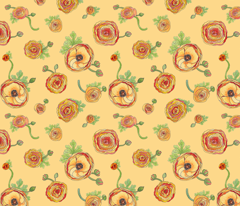 Ranunculus Melon fabric by demouse on Spoonflower - custom fabric