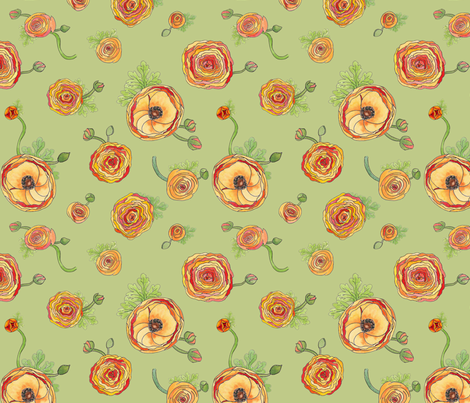 Ranunculus celadon fabric by demouse on Spoonflower - custom fabric