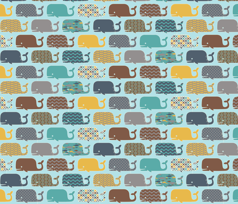 WHALES! fabric by natasha_k_ on Spoonflower - custom fabric
