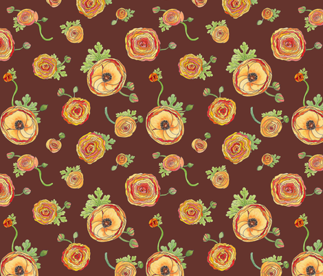 Ranunculus Chocolate fabric by demouse on Spoonflower - custom fabric
