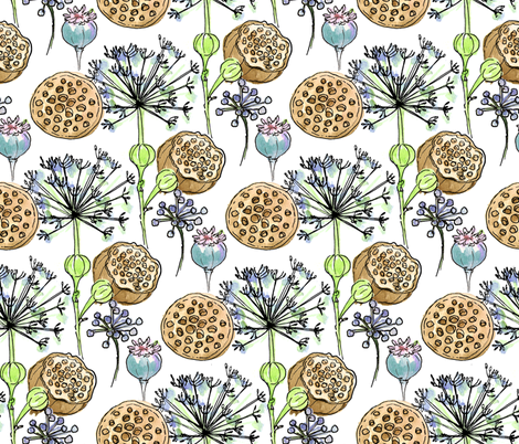 Prairie Pods w/ White Background fabric by holly_helgeson on Spoonflower - custom fabric
