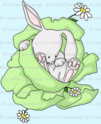 Lettuce Bunny on Blue