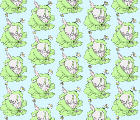 Lettuce Bunny on Blue fabric by urbanfaery on Spoonflower - custom fabric