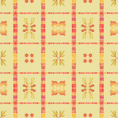 granada tile_yellow ochre fabric by bee&lotus on Spoonflower - custom fabric
