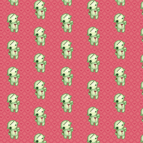 Bleeding heart zombie on pink hearts fabric by iamnotadoll on Spoonflower - custom fabric
