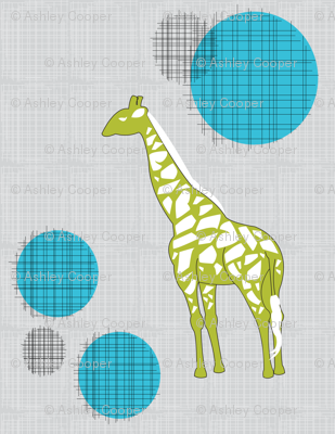 Giraffes in Green & Blue