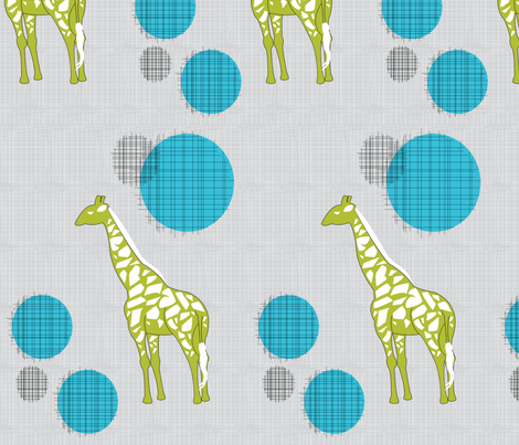 Giraffes in Green & Blue fabric by ashleycooperdesign on Spoonflower - custom fabric