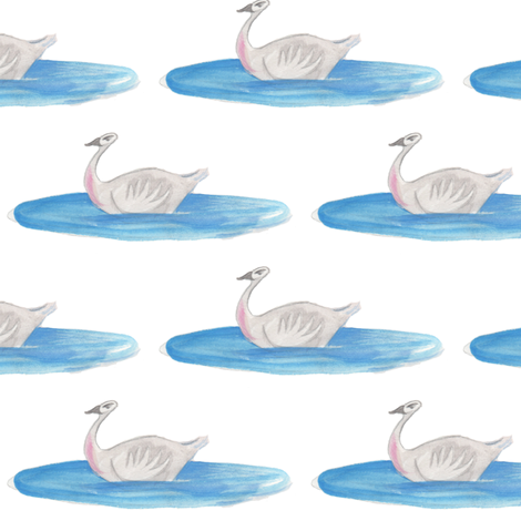 Swan in a blue pool fabric by nightgarden on Spoonflower - custom fabric
