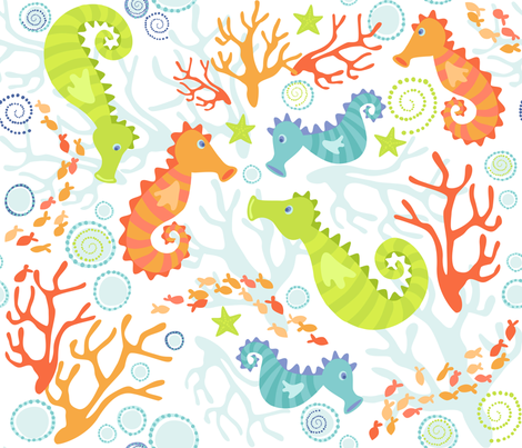 Seahorses fabric by bzbdesigner on Spoonflower - custom fabric