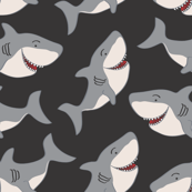 Black Gray Cute Shark Vector Repeat