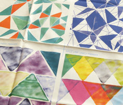 watercolor triangles - green and purple