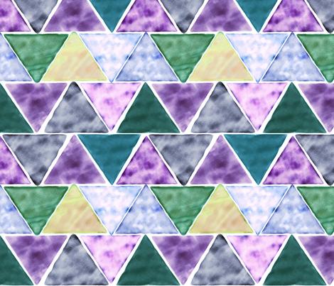 watercolor triangles - green and purple fabric by ravynka on Spoonflower - custom fabric