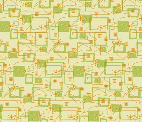 Retro Avocado & Orange fabric by exstock on Spoonflower - custom fabric