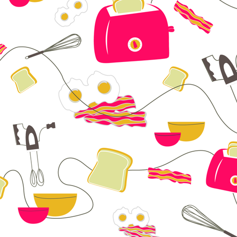 Red Toaster Eggs n Bacon fabric by angiemakes on Spoonflower - custom fabric