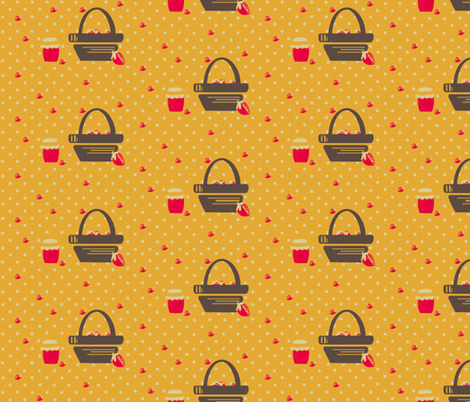 strawberry basket fabric by audettesa on Spoonflower - custom fabric