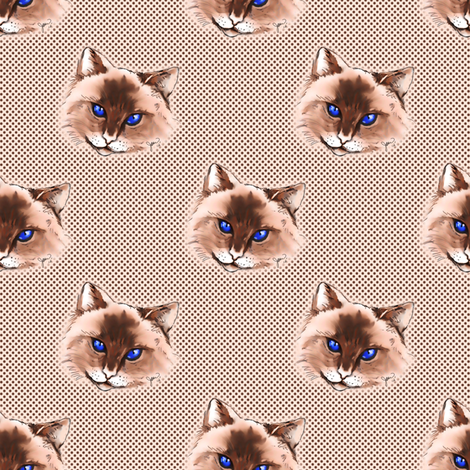 Cat on Polka dot background fabric by joanmclemore on Spoonflower - custom fabric