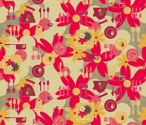 Hessian Kitchen  fabric by glanoramay on Spoonflower - custom fabric