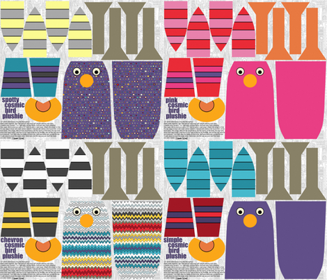 cosmic bird plushies 4 in 1 yard fabric by scrummy on Spoonflower - custom fabric