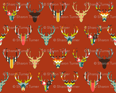 RETRO DEER HEAD RUSSET small