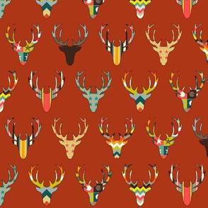 retro deer head russet small