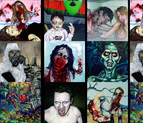 Zombie Apocalypse Quilting Squares by Robert Walker fabric by rw2gallery on Spoonflower - custom fabric