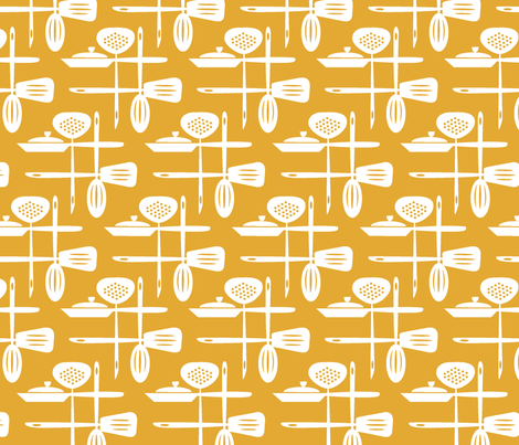 Kitchenwares Retro White Butterscotch fabric by simple_felicities on Spoonflower - custom fabric