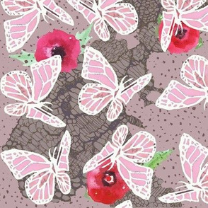 butterflies on lace dotty pink