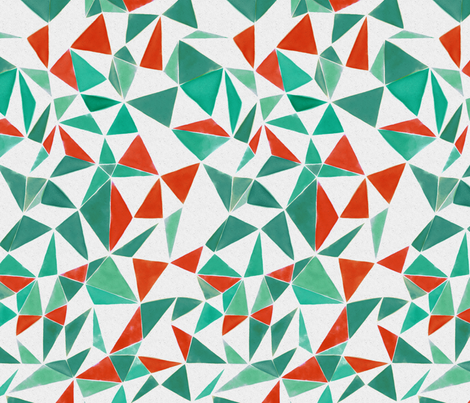 triangle FACETS - orange & veronese green fabric by ravynka on Spoonflower - custom fabric