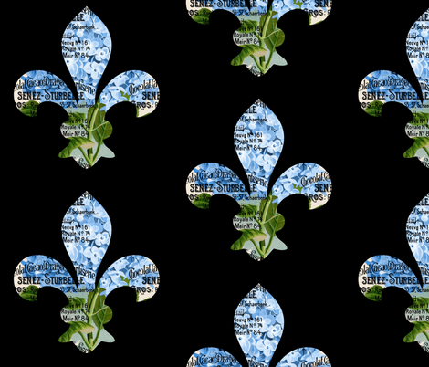 French Fleur de Lis Blue Hydrangea fabric by 13moons_design on Spoonflower - custom fabric