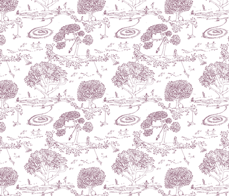 Tire Swing Toile in white/cranberry fabric by maile on Spoonflower - custom fabric