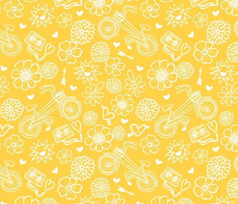 An Ode to My Bike-Mustard Colorway fabric by my_zoetrope on Spoonflower - custom fabric