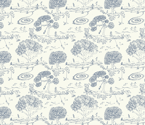 Tire Swing Toile in cream/navy fabric by maile on Spoonflower - custom fabric