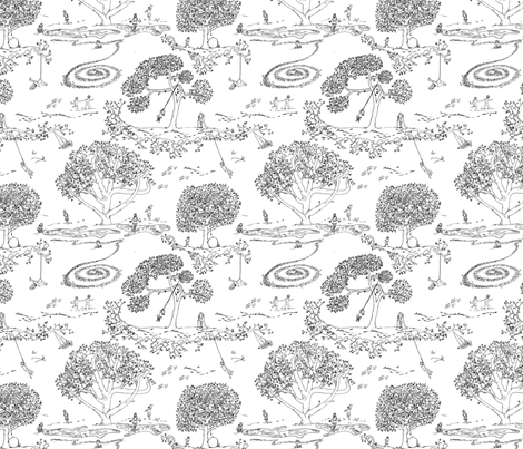 Tire Swing Toile in white/black fabric by maile on Spoonflower - custom fabric