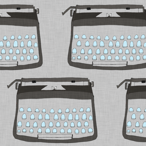 Typewriter - Grey fabric by maker_maker on Spoonflower - custom fabric