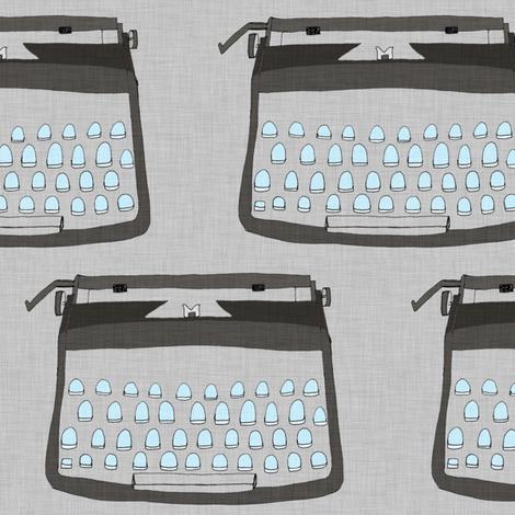 Typewriter - Grey fabric by maker_maker on Spoonflower - custom fabric