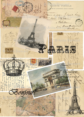 French Paris Postcard Collage