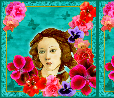Venus and spring flowers foulard.