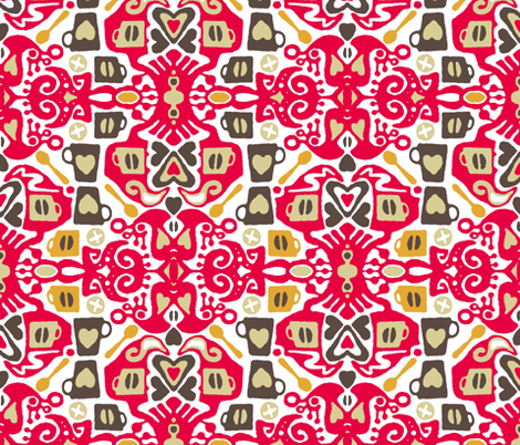 cafe coffee ikat fabric by scrummy on Spoonflower - custom fabric