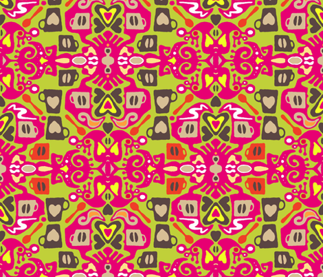 fun cafe coffee ikat fabric by scrummy on Spoonflower - custom fabric