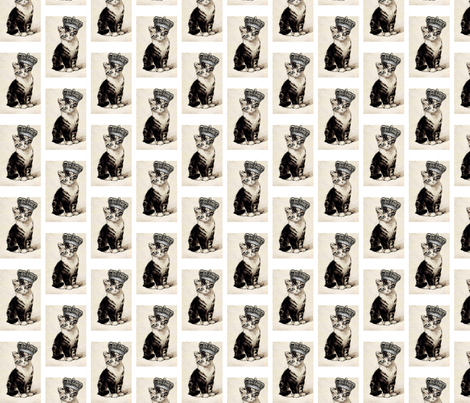 Vintage Kitty with Crown fabric by 13moons_design on Spoonflower - custom fabric