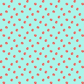 Watercolor Polka Dot - Aqua/Red