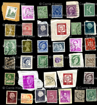 stamps on black